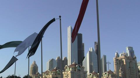 Flags downtown Dubai Stock Video Footage