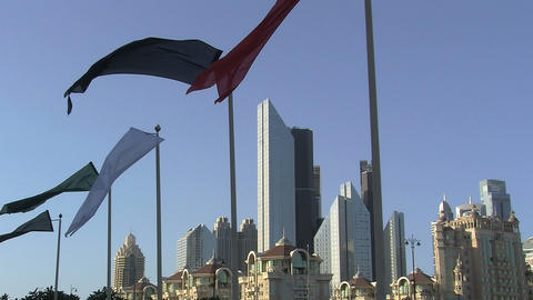 Flags downtown Dubai Footage