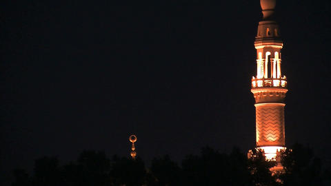 Jumeirah Mosque at night Stock Video Footage