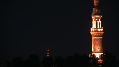 Jumeirah Mosque at night Footage