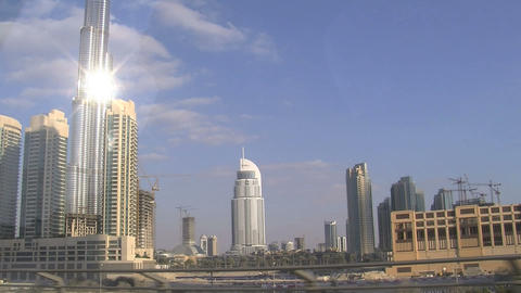 Sun reflextion at the burj khalifa Footage