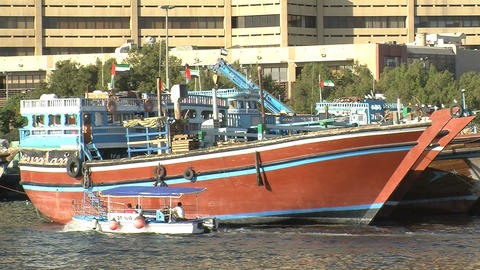 Ferry In Dubai Harbor stock footage
