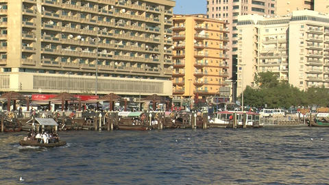 Typical ferries in Dubai harbor Stock Video Footage