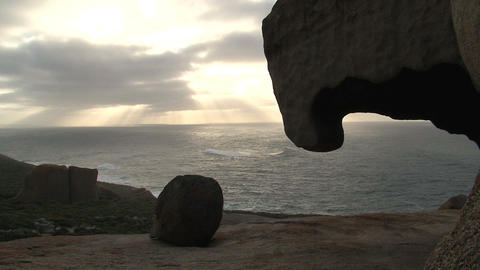 Morning sunshine at sea with the Remarkable Rock Stock Video Footage
