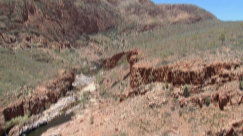 Tilt To A River At The MacDonnell Ranges, Australi stock footage