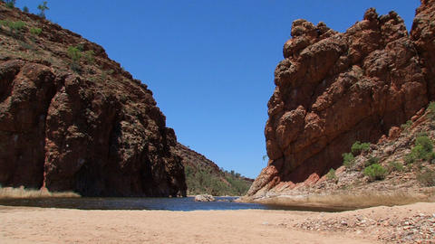 Tourists walking at the MacDonnell Ranges Stock Video Footage