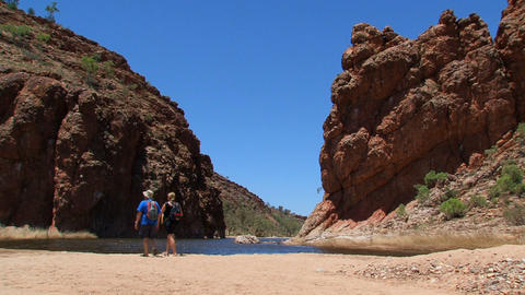 Tourists walking at the MacDonnell Ranges Footage