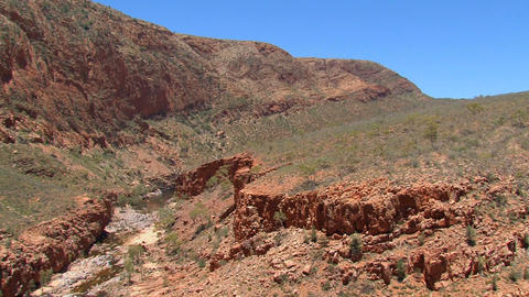 Pan from the mountains at the MacDonnell Ranges Stock Video Footage