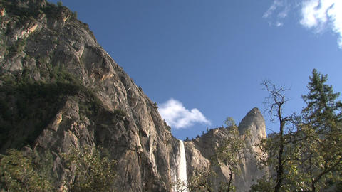 Clouds and waterfall time lapse Yosemite National Footage
