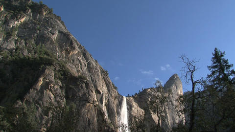 Clouds and waterfall time lapse Yosemite National Stock Video Footage