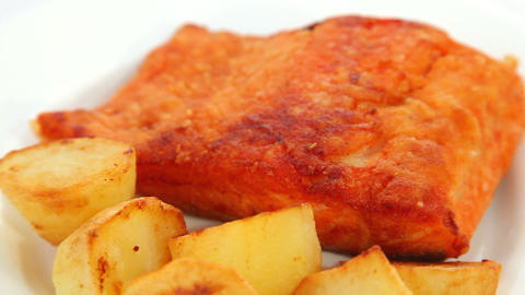 Salmon fried - dolly shot Stock Video Footage