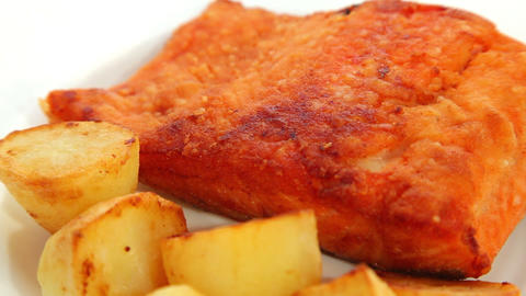 Fish salmon fried Stock Video Footage