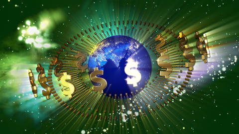 Earth with Golden Dollar Symbols Stock Video Footage