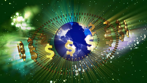 Earth with Golden Dollar Symbols Animation