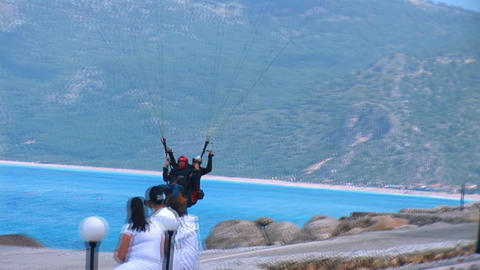 Paraglider lands Stock Video Footage