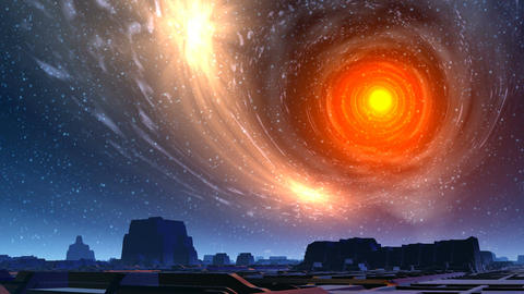 White hole and city of aliens Stock Video Footage