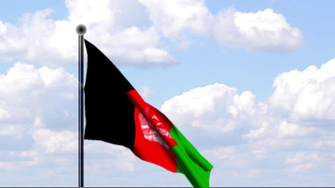 Animated Flag of Afghanistan Stock Video Footage