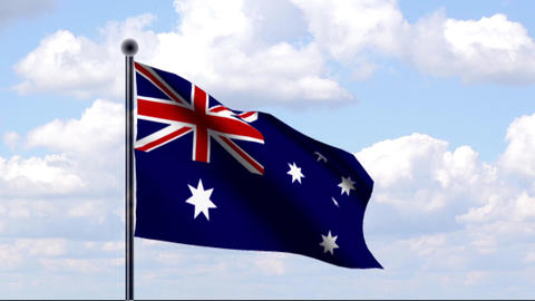 Animated Flag of Australia / Australien Stock Video Footage