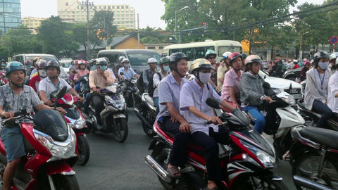 SCOOTER TRAFFIC IN VIETNAM - HO CHI MINH CITY Stock Video Footage