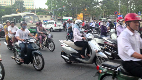 CRAZY SCOOTER TRAFFIC IN VIETNAM - HO CHI MINH CITY Stock Video Footage