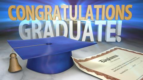 Congratulations Graduate Animated Title Stock Video Footage