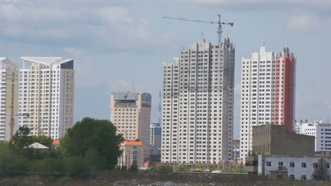 Heihe skyscrapers panorama Stock Video Footage