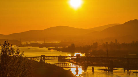 Sunset of Lion Gate and 2nd Narrow Bridge Stock Video Footage