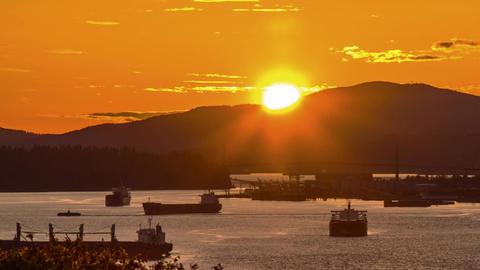 Pan shot time lapse of Lion Gate Bridge at Sunset Stock Video Footage