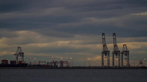 Clouds time lapse by Delta Port, Tsawwassen Termin Stock Video Footage