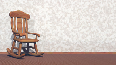 Swaying rocking-chair - 3D render Stock Video Footage