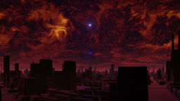 Gloomy city of aliens and UFO Animation