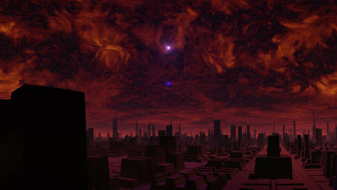 Gloomy city of aliens and UFO Stock Video Footage