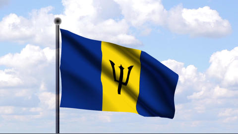 Animated Flag of Barbados Stock Video Footage