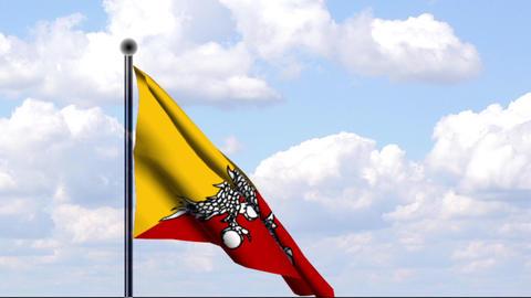 Animated Flag of Bhutan / Animierte Flagge von Bhu Stock Video Footage
