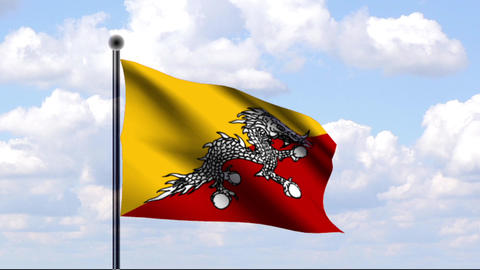 Animated Flag of Bhutan / Animierte Flagge von Bhu Stock Video Footage