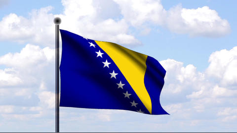 Animated Flag of Bosnia and Herzegovina / Animiert Stock Video Footage