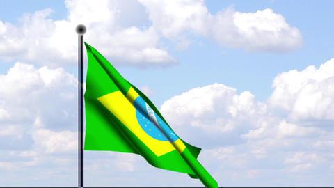 Animated Flag of Brazil / Animierte Flagge von Bra Stock Video Footage
