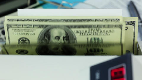 Banknote counter, dollars and blanks white form Footage