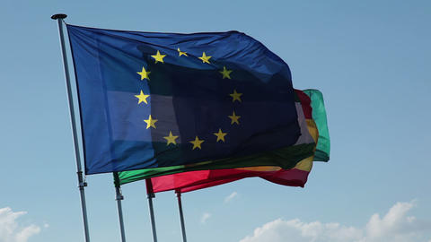 Granada. Flags on flagpoles Stock Video Footage