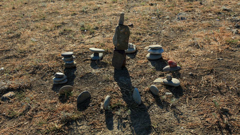 Movement of shadows on the stone sundial (timelapse) Stock Video Footage