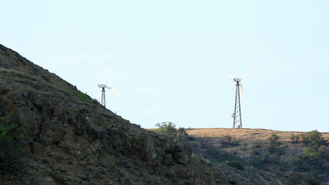 Wind farm in the mountains. Mountain Meganom, Crimea,... Stock Video Footage