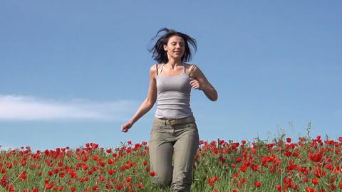 Girl Runs Stock Video Footage