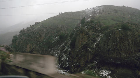 mountain road view from the car Footage