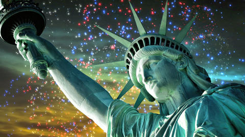 Liberty at Sunset with Fireworks Stock Video Footage