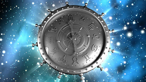 Silver Zodiac Machine And Stars stock footage