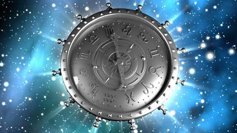Silver Zodiac Machine and Stars Stock Video Footage