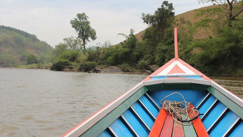 Long Tail Boat On River In Rural Thailand stock footage