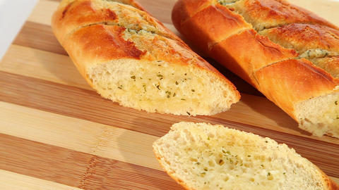 Baked garlic bread Stock Video Footage