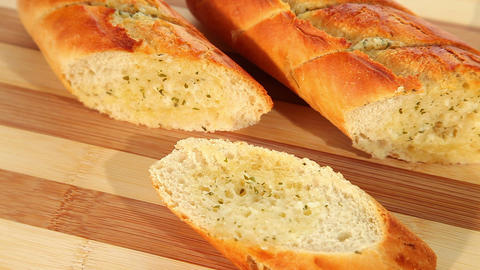 Baked Garlic Bread stock footage