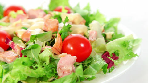 Fresh vegetable salad with smoked chicken Stock Video Footage